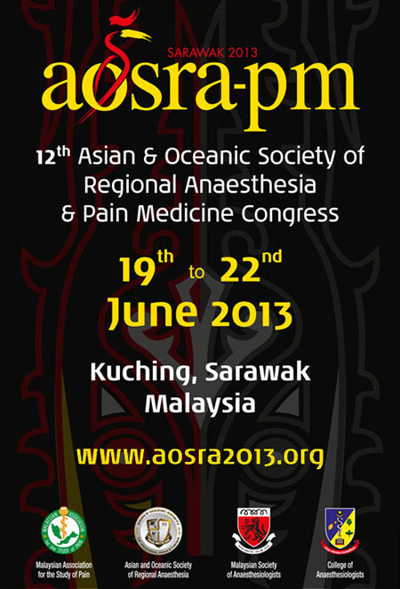 12th Asian & Oceanic Society of Regional Anaesthesia & Pain Medicine (AOSRA-PM) Congress. Click here to view more . . .